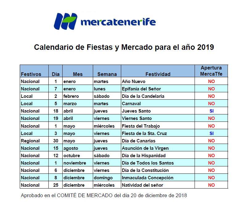 Calendario Laboral Tenerife 2019.Calendario Laboral Mercatenerife Com
